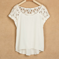 White Lace Stitching Short Sleeve Chiffon Shirts
