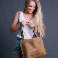 Brown leather bag - Soft leather tote bag - Women bag - Leather Shoulder bag - Shiri bag / Light brown