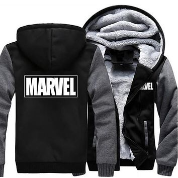 men warm hoodies Winter Marvel hoodie Hooded Thick Zipper Men Sweatshirts
