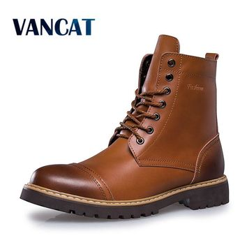 Vancat 2018 Autumn Winter Genuine Leather Men Boots High Quality Lace-up Men shoes Warm Snow Boots Motorcycle Boots Size 38-46