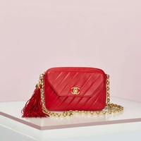 Vintage Chanel Red Leather Camera Bag
