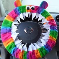 AURORA Rainbow Monster Steering Wheel Cover MADE 2 Order