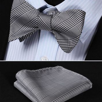BG105L Black White  Houndstooth 100%Silk Jacquard Woven Men Self Bow Tie BowTie Pocket Square Handkerchief Hanky Suit Set