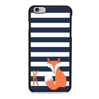 Navy Stripes Fox animal personalize monogram Iphone 6 Case