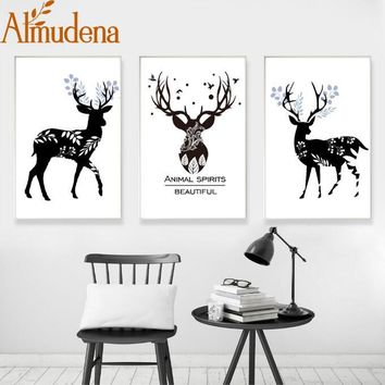ALMUDENA Simple Small Fresh Abstract Black and White Elk Nordic Decorative Painting 3 Pieces Unframed Wall Art Canvas Poster