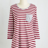 Mid-length 3 Do the Stripe Thing Top in Raspberry