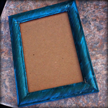 Hand Painted Wooden Picture Frame, Blue, Wall Hanging Photograph Frame