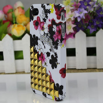 Golden  Stud Ink And Wash  Hard Case Cover for Apple iPhone 4gs Case, iPhone 4s Case, iPhone 4 Hard Case