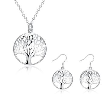 Silver Plated Tree of Life Earrings and Necklace Jewelry Set 18''
