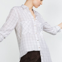 White Plaid Long-Sleeve Button Collared Shirt