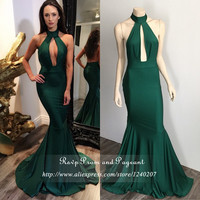 Emerald Green Sexy Prom Dress Off The Shoulder Halter Neck Long Backless Mermaid Prom Dresses 2016