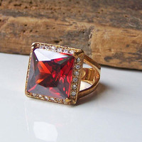 Etsy Vintage, Cocktail Ring, Large Chunky Vintage Cocktail Ring, Red Glass Ring, Glass and Rhinestone Ring, Garnet Colored Ring, Etsy
