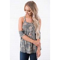 Strictly Wild Cold Shoulder Top (Camo)
