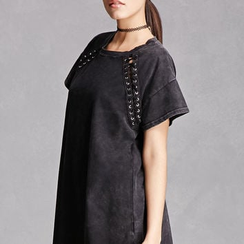 Distressed Lace-Up Tee