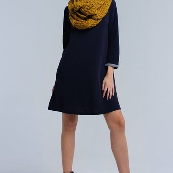 Navy midi dress with checked detail