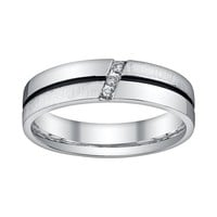 Platina 4 Diamond Accent Wedding Band - Men (White)
