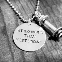 STRONGER THAN YESTERDAY necklace - Crossfit workout