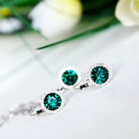 emerald green bridesmaids jewelry set art deco clear crystal swarovski rhinestone necklace earrings wedding jewelry bridal jewelry set