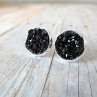 C O A L  - Black Chunky Sparkle, Faux Druzy, Silver Plated Stud Earrings, 12mm