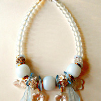 WGermany Necklace Baby Blue Art Glass Lucite Floral Vintage Chunky