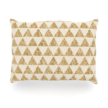 "Nika Martinez ""Glitter Triangles in Gold"" Tan Yellow Outdoor Throw Pillow"