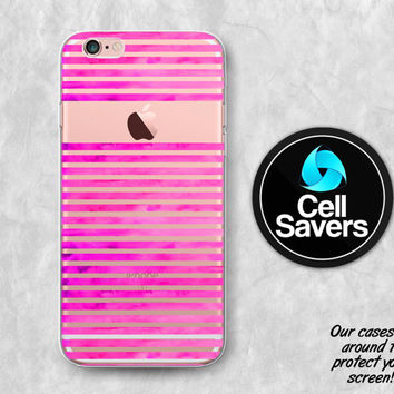 Watercolor Stripes Clear iPhone 6s Case iPhone 6 Case iPhone 6 Plus Case iPhone 6s Plus iPhone 5c Case iPhone 5 Clear Case Hot Pink Paint