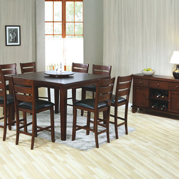 "Dining Table - 54""X 54"" / Dark Oak Veneer With Lazy Susan"
