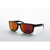 Oakley OO 9102 9102/51 Black Frame Orange POLARIZED Lens Square Sunglasses