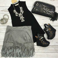 Fringe Frenzy Skirt: Slate