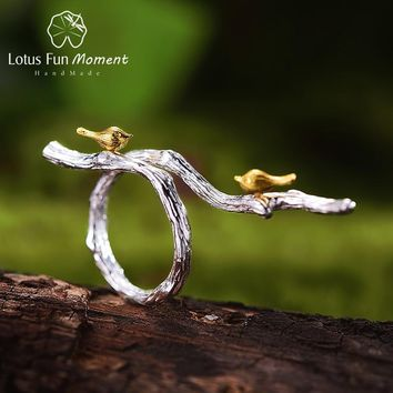 Lotus Fun Moment Real 925 Sterling Silver Vintage Black Original Fashion Jewelry Bird on Branch Adjustable Rings for Women