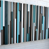Modern Wood Headboard - Queen Headboard - Reclaimed Wood Sculpture