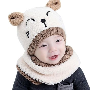 MUQGEW Baby Girl Hat Toddler Baby Boy Hat Knitted Children's Lovely Spire Soft Baby Hats Scarf Bonnet Enfant Baby Winter Hat