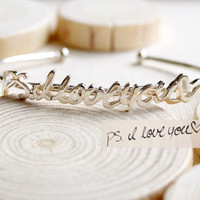 Adjustable Signature Bangle - Personalized Handwriting Bangle - Signature Bracelet - Keepsake Jewelry in Sterling Silver - Bridesmaid Gift