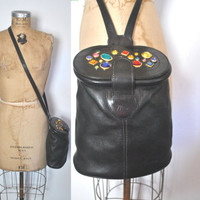 Black Leather rhinestone Bag / 1980s tote purse