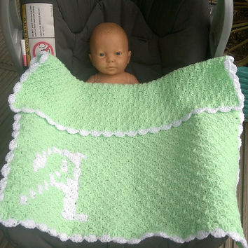 Baby carseat blanket, crocheted initial blanket, unisex blanket, green white, new baby/ baby shower gift, ready to post blanket
