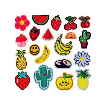 ac NOOW2 Cool Fruit Cherry Banana Pineapple Watermelon Patches Iron On Or Sew Fabric Sticker For Clothes Badge Embroidered Appliques DIY