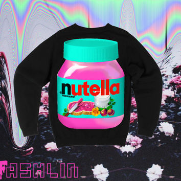 UNISEX Hot Pink Nutella Neon Fluorescent Nu Goth Sweatshirt // fASHLIN