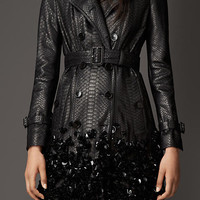 Crushed Sequin Python Trench Coat
