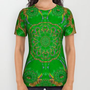 Summer landscape in green and gold All Over Print Shirt by Pepita Selles