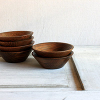 set of 6 vintage wooden bowls // hand crafted rustic oak