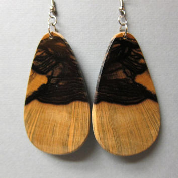 Stunning Black White Ebony, XX Large Earrings Exotic Wood by ExoticWoodJewelryAnd repurposed
