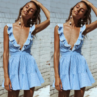 Blue Plunge Ruffle Strappy Back Skater Dress