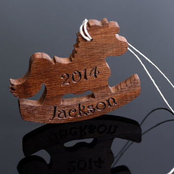 Babys 1st Christmas Ornament, personalized Ornament,  Rocking Horse ornament with Custom Name, Wood Ornament