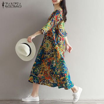 ZANZEA Women Floral Printed Casual Loose Kaftan Vestido Retro Ladies Round Neck 3/4 Sleeve Long Shirt Maxi Dress Plus Size S-5XL
