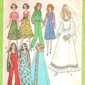Vintage Retro Simplicity Sewing Pattern Barbie Doll Wardrobe Clothes Wedding Dress Cape Jogging Suit Pants Vest