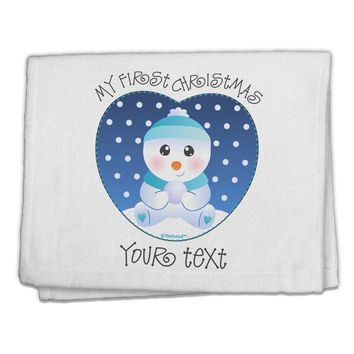 "Personalized My First Christmas Snowbaby Blue 11""x18"" Dish Fingertip Towel"