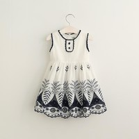 Baby Girls Lace Cotton Sleeveless Dresses, Princess Kids Elegant Dress