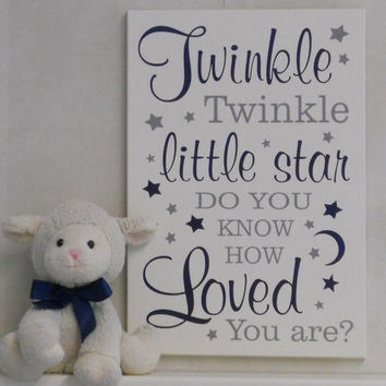 Twinkle Twinkle Little Star Do You Know How Loved You Are - Sign Nursery Decor, Baby Boy Nursery Wall Art - Baby Shower Gift - Navy and Gray