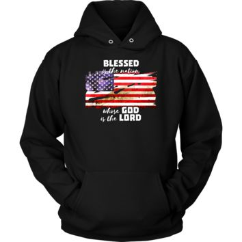 American Flag Patriotic Blessed is the Nation Christian Hoodie