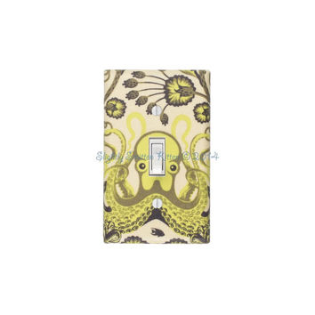 Octopus Light Switch Plate Cover / Nautical Bathroom Decor / Octo Garden Seaweed / Saltwater